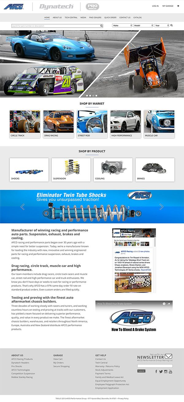 eCommerce website built for AFCO Performance Parts