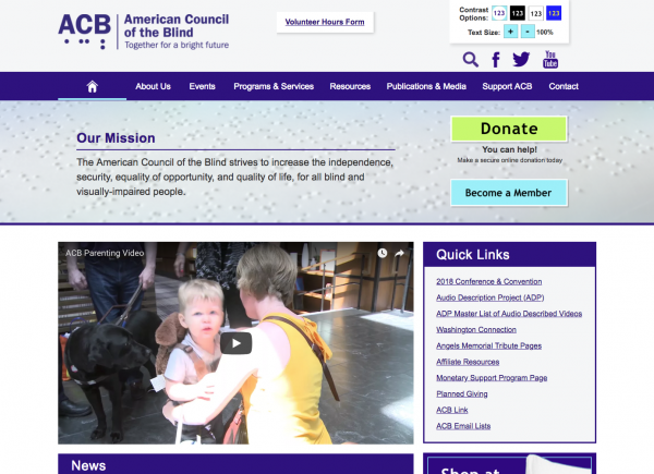 American Council for the Blind homepage